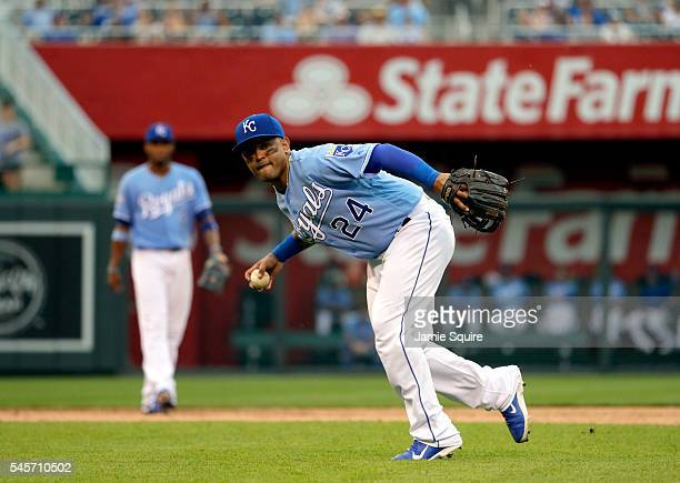 Christian Colon of the Kansas City Royals in action during the game against the Seattle Mariners at Kauffman Stadium on July 9 2016 in Kansas City...