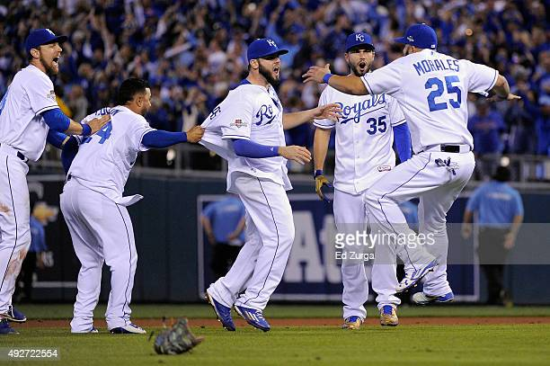 Christian Colon of the Kansas City Royals Mike Moustakas of the Kansas City Royals Eric Hosmer of the Kansas City Royals and Kendrys Morales of the...