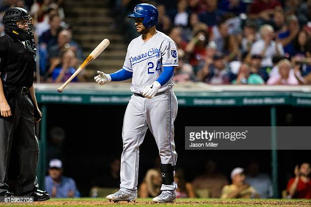 Christian Colon of the Kansas City Royals reacts after striking out during the eighth inning against the Cleveland Indians at Progressive Field on...