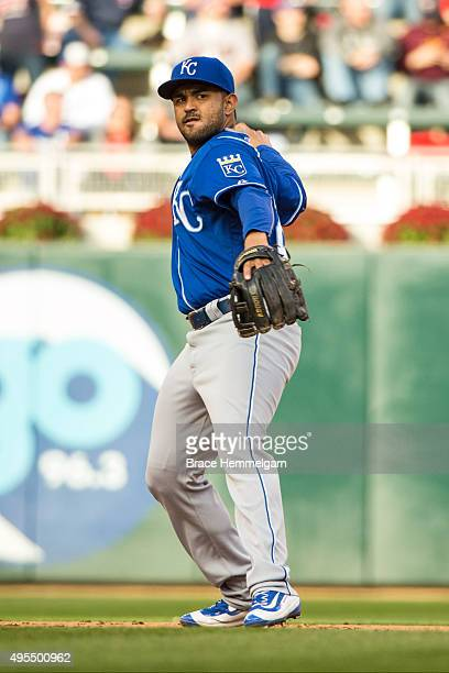 Christian Colon of the Kansas City Royals throws against the Minnesota Twins on October 4 2015 at Target Field in Minneapolis Minnesota The Royals...