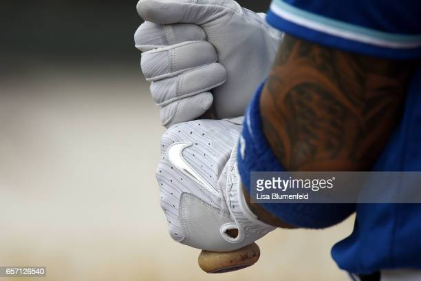 Christian Colon of the Kansas City Royals wears Nike batting gloves during the game against the San Diego Padres at Surprise Stadium on March 22 2017...