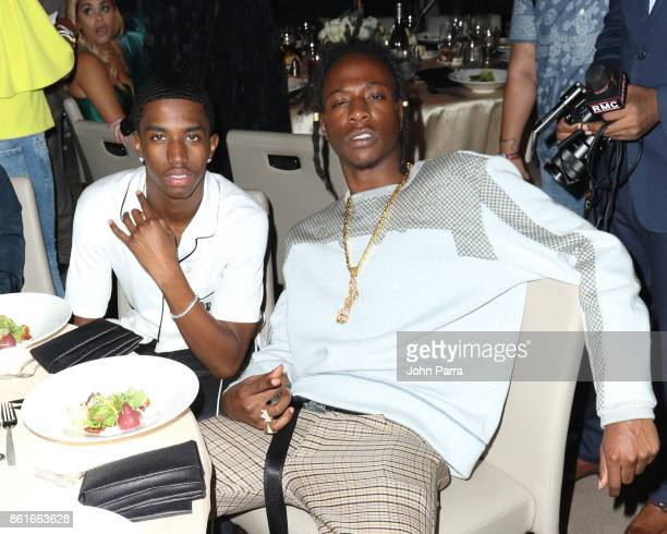 Christian Combs and Joey Badass attend the REVOLT Music Conference Gala Dinner Award Presentation at Eden Roc Hotel on October 14 2017 in Miami Beach...