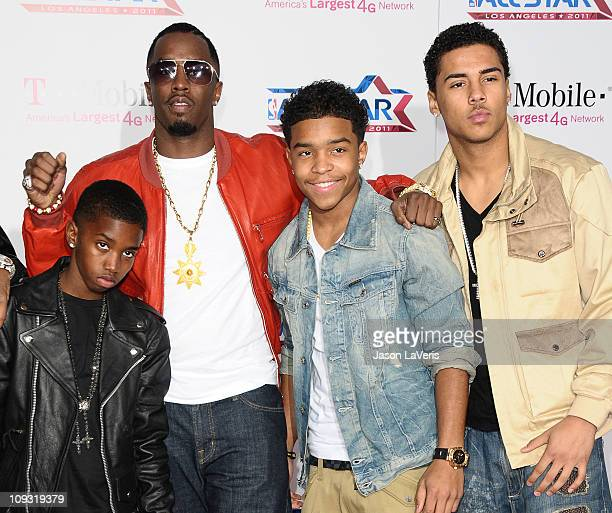 Christian Combs Sean 'Diddy' Combs Justin Combs and Quincy Jones Brown attend the 2011 NBA AllStar game at LA LIVE on February 20 2011 in Los Angeles...