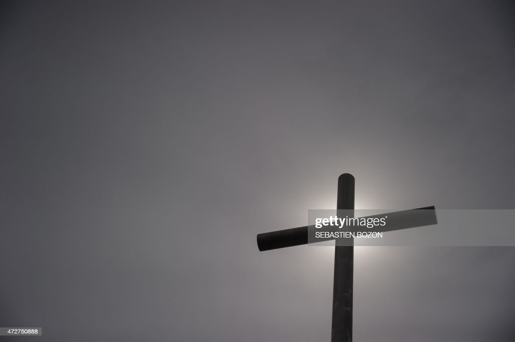 A Christian cross is pictured during the inauguration day of the new church on May 9 2015 in Mulhouse eastern France The new church of 2900 m2 on two...