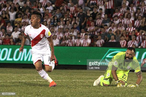 Christian Cueva celebrates after scoring his team's third goal during a match between Paraguay and Peru as part of FIFA 2018 World Cup Qualifiers at...