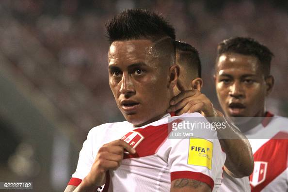 Christian Cueva of Peru celebrates after scoring his team's third goal during a match between Paraguay and Peru as part of FIFA 2018 World Cup...