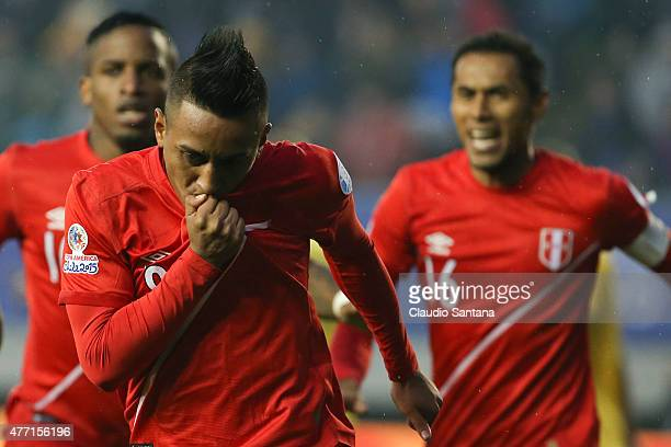 Christian Cueva of Peru celebrates after scoring the opening goal during the 2015 Copa America Chile Group C match between Brazil and Peru at...