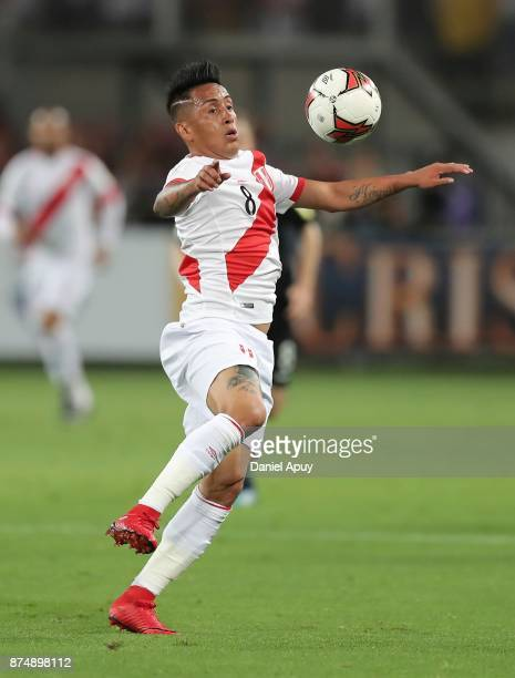 Christian Cueva of Peru controls the ball during a second leg match between Peru and New Zealand as part of the 2018 FIFA World Cup Qualifier Playoff...