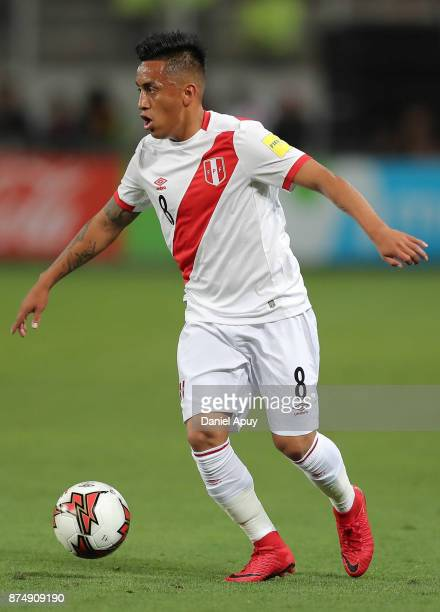 Christian Cueva of Peru drives the ball during a second leg match between Peru and New Zealand as part of the 2018 FIFA World Cup Qualifier Playoff...