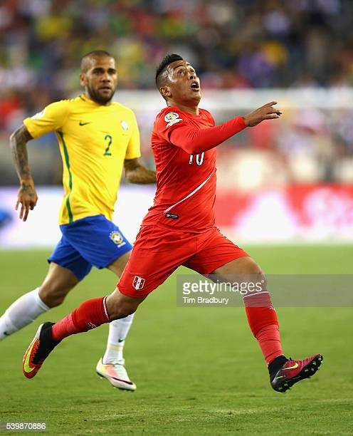 Christian Cueva of Peru in action against Brazil in the first half during a 2016 Copa America Centenario Group B match at Gillette Stadium on June 12...