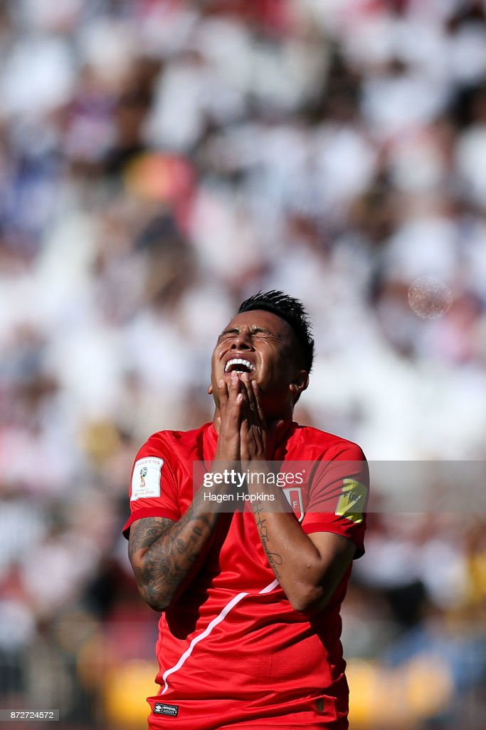 Christian Cueva of Peru reacts after a missed opportunity during the 2018 FIFA World Cup Qualifier match between the New Zealand All Whites and Peru at Westpac Stadium on November 11, 2017 in Wellington, New Zealand.