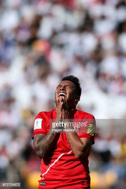 Christian Cueva of Peru reacts after a missed opportunity during the 2018 FIFA World Cup Qualifier match between the New Zealand All Whites and Peru...