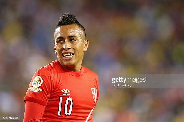 Christian Cueva of Peru reacts in the second half against Brazil during a 2016 Copa America Centenario Group B match at Gillette Stadium on June 12...