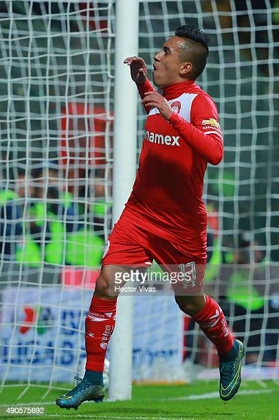 Christian Cueva of Toluca celebrates after scoring the second goal of his team during the 11th round match between Toluca and Tijuana as part of the...
