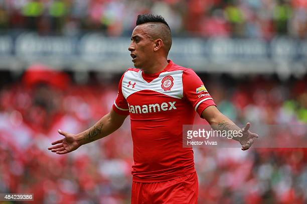 Christian Cueva of Toluca reacts during a 5th round match between Toluca and Chivas as part of the Apertura 2015 Liga MX at Nemesio Diez Stadium on...