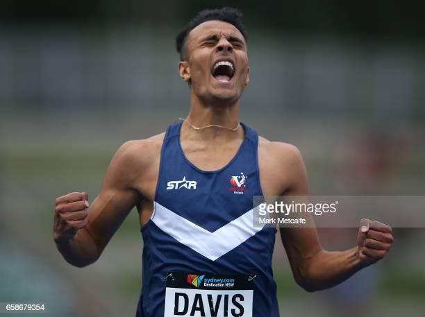 Christian Davis of Victoria celebrates winning the mens under 20s 400m on day three of the 2017 Australian Athletics Championships at Sydney Olympic...