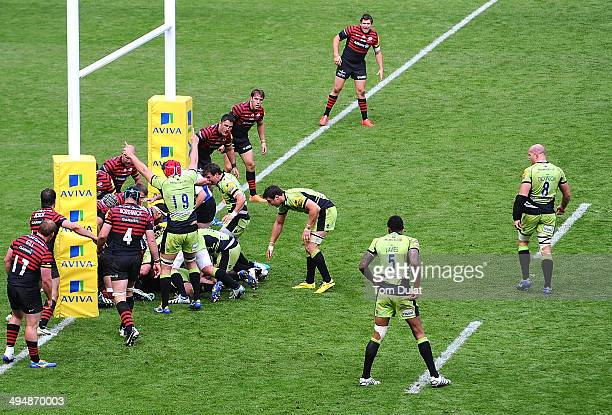 Christian Day of Northampton Saints appeals for a try during the Aviva Premiership Final between Saracens and Northampton Saints at Twickenham...