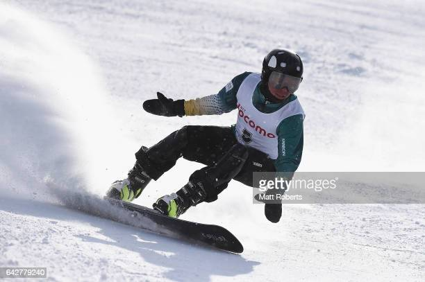 Christian De Oliveira of Australia competes in Men's Giant Slalom on day two of the 2017 Sapporo Asian Winter Games at Sapporo Teine on February 19...