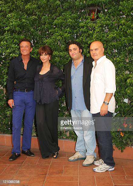 Christian De Sica Laura Morante Nicola Nocella and Luca Zingaretti attend the last movie of Pupi Avati ''Il Figlio Piu Piccolo' at Antica Pesa on...