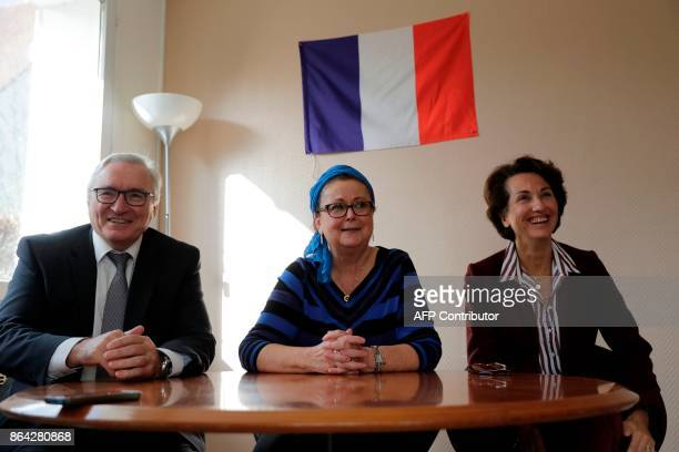 Christian Democrat right wing party member Christine Boutin flanked by Georges Benize county councillor for social reorganisation in the rural sector...