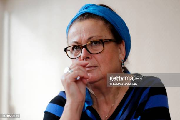 Christian Democrat right wing party member Christine Boutin gestures as she speaks during a press conference announcing her resignation from the...