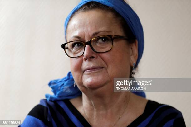 Christian Democrat right wing party member Christine Boutin looks on during a press conference announcing her resignation from the Yvelines...