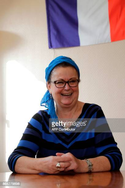 Christian Democrat right wing party member Christine Boutin reacts during a press conference announcing her resignation from the Yvelines...