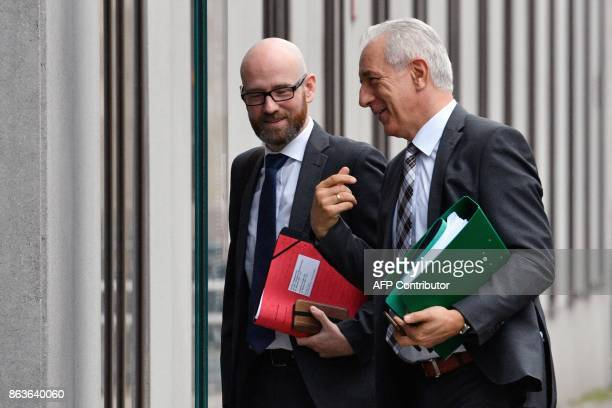 Christian Democratic Union party's secretary general Peter Tauber and State Premier for the federal state of Saxony Stanislaw Tillich arrive as...