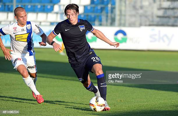 Christian Derflinger of SV Groedig and Nico Schulz of Hertha BSC during the game between SV Groedig and Hertha BSC on july 21 2015 in Schladming...