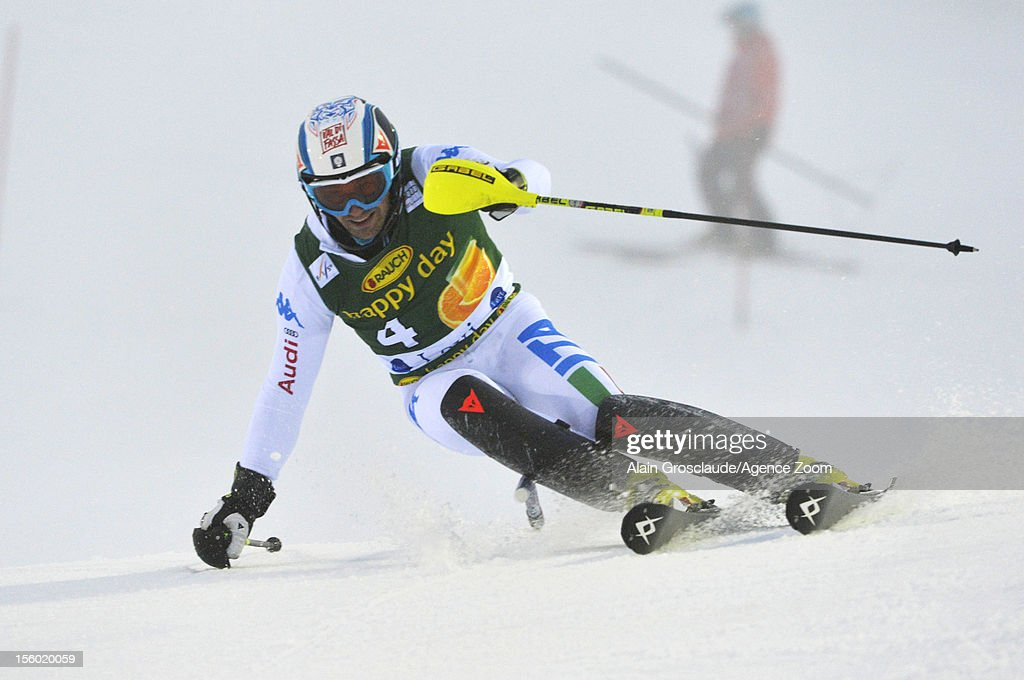 Christian Deville of Italy competes during the Audi FIS Alpine Ski World Cup Men's Slalom on November 11, 2012 in Levi, Finland.