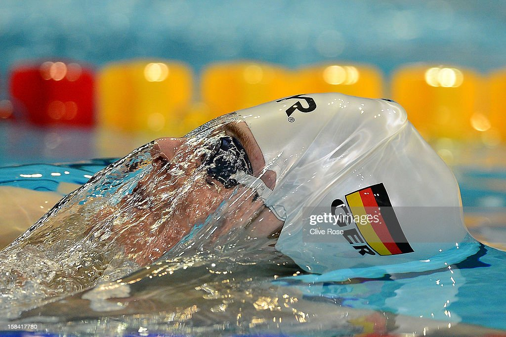 Christian Diener of Germany competes in the Men's 200m Backstroke heats during day five of the 11th FINA Short Course World Championships at the Sinan Erdem Dome on December 16, 2012 in Istanbul, Turkey.