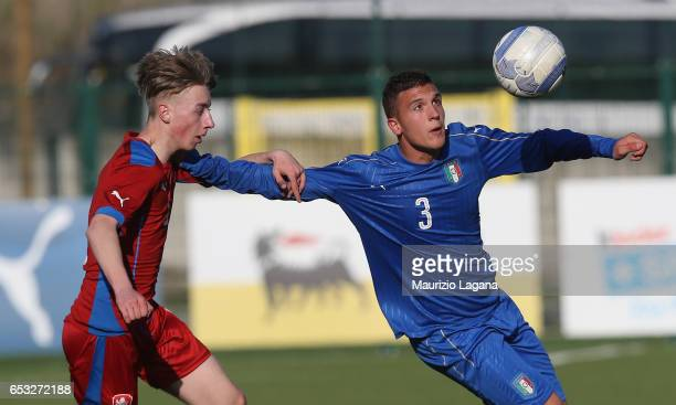 Christian Dimarco of Italy competes for the ball with Jakub Leder of Czech Republic during the U15 International Friendly match Italy and Czech...