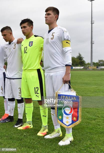 Christian Dimarco Samuel Vitale and Lorenzo Pirola of Italy U15 prior the Torneo delle Nazioni match between Italy U15 and UAE U15 on April 27 2017...