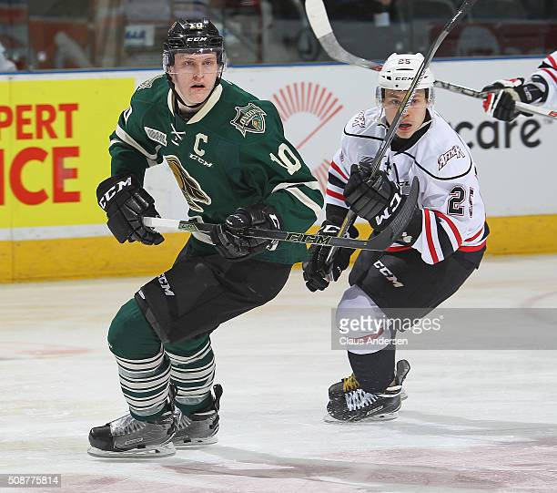 Christian Dvorak of the London Knights skates against Petrus Palmu of the Owen Sound Attack during an OHL game at Budweiser Gardens on February 5...