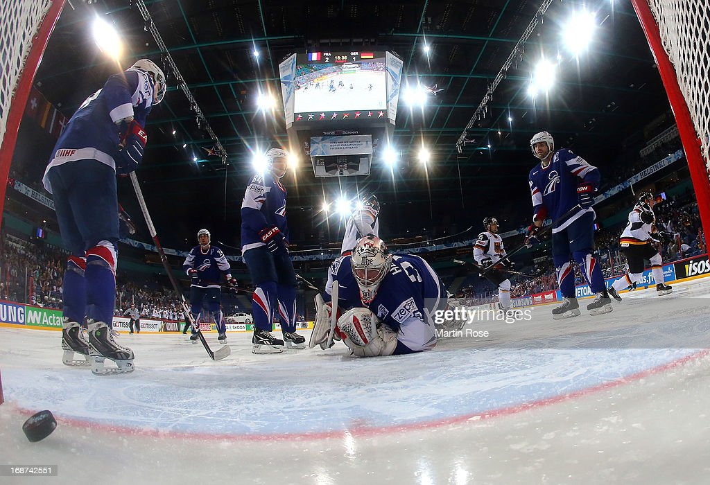 Christian Ehrhoff (not pictured) of Germany scores his team's winnin goal during the IIHF World Championship group H match between France and Germany at Hartwall Areena on May 14, 2013 in Helsinki, Finland.