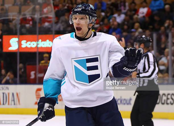 Christian Ehrhoff of Team Europe reacts during the third period against Team Sweden at the semifinal game during the World Cup of Hockey tournament...