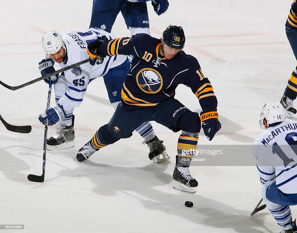 <a gi-track='captionPersonalityLinkClicked' href=/galleries/search?phrase=Christian+Ehrhoff&family=editorial&specificpeople=214788 ng-click='$event.stopPropagation()'>Christian Ehrhoff</a> #10 of the Buffalo Sabres skates against the Toronto Maple Leafs at First Niagara Center on March 21, 2013 in Buffalo, United States.Buffalo won 5-4 in a shootout.