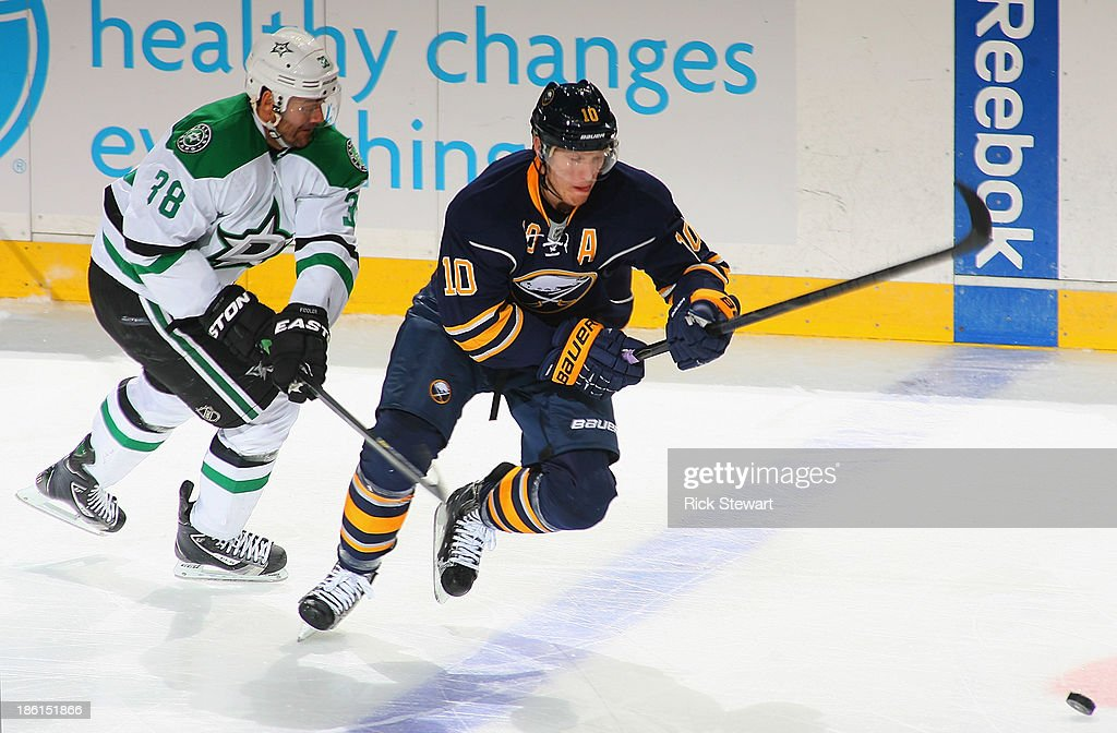<a gi-track='captionPersonalityLinkClicked' href=/galleries/search?phrase=Christian+Ehrhoff&family=editorial&specificpeople=214788 ng-click='$event.stopPropagation()'>Christian Ehrhoff</a> #10 of the Buffalo Sabres skates away from <a gi-track='captionPersonalityLinkClicked' href=/galleries/search?phrase=Vernon+Fiddler&family=editorial&specificpeople=208086 ng-click='$event.stopPropagation()'>Vernon Fiddler</a> #38 of the Dallas Stars at First Niagara Center on October 28, 2013 in Buffalo, New York. Dallas won 4-3.