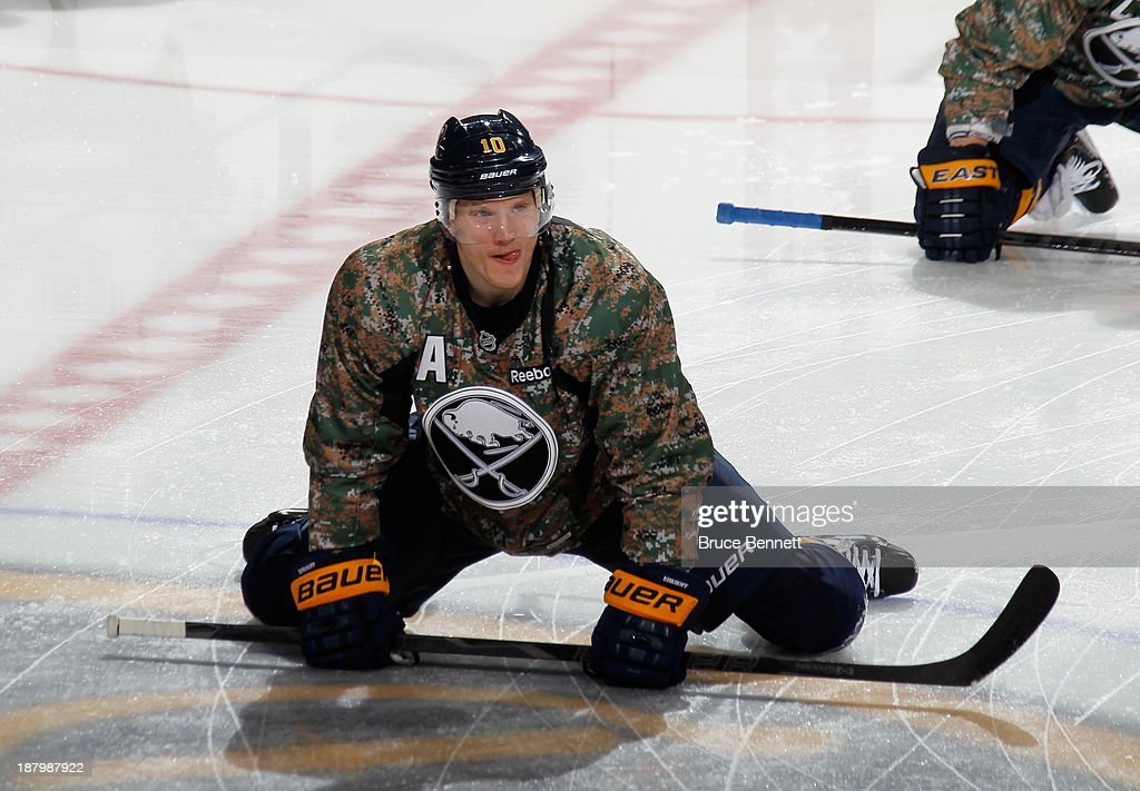 Christian Ehrhoff #10 of the Buffalo Sabres skates in warm-ups prior to the game against the Los Angeles Kings at the First Niagara Center on November 12, 2013 in Buffalo, New York.