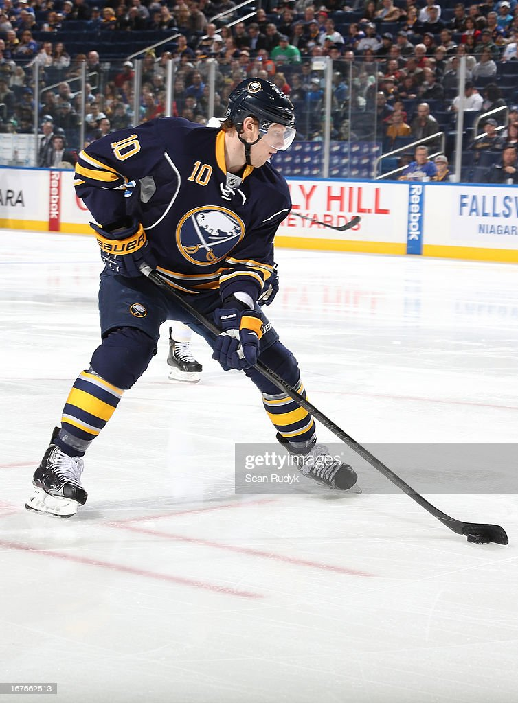 Christian Ehrhoff #10 of the Buffalo Sabres skates with the puck against the Winnipeg Jets at First Niagara Center on April 22, 2013 in Buffalo, New York.
