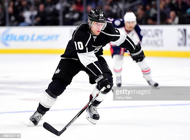 Christian Ehrhoff of the Los Angeles Kings forechecks during the game against the Columbus Blue Jackets at Staples Center on November 5 2015 in Los...