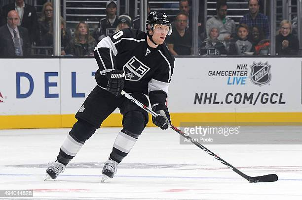 Christian Ehrhoff of the Los Angeles Kings handles the puck during the game against the Minnesota Wild on October 16 2015 at STAPLES Center in Los...