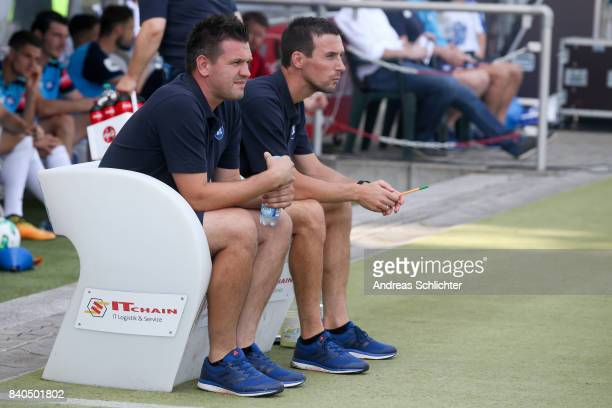 Christian Eichner and Coach Zlatan Bajramovic of Karlsruher SC during the 3 Liga match between Karlsruher SC and Hallescher FC at on August 26 2017...