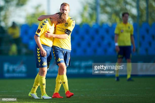 Christian Enemark of Brondby IF and Thomas Kahlenberg of Brondby IF looks dejected after the Danish Alka Superliga match between SonderjyskE and...