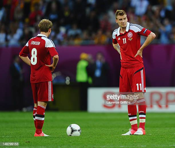 L'VIV UKRAINE JUNE 13 Christian Eriksen and Nicklas Bendtner of Denmark look on during the UEFA EURO 2012 group B match between Denmark and Portugal...