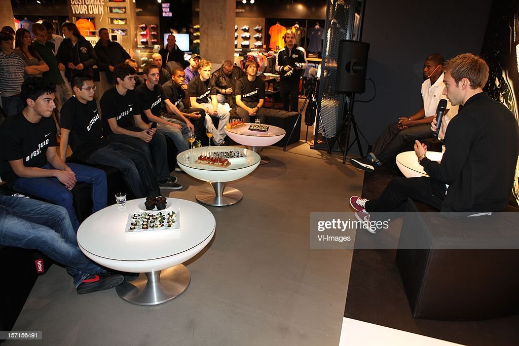 Christian Eriksen during the unveiling of the new Nike GS2 soccer shoe at the Nike Store on November 27, 2012 at Amsterdam, Netherlands.