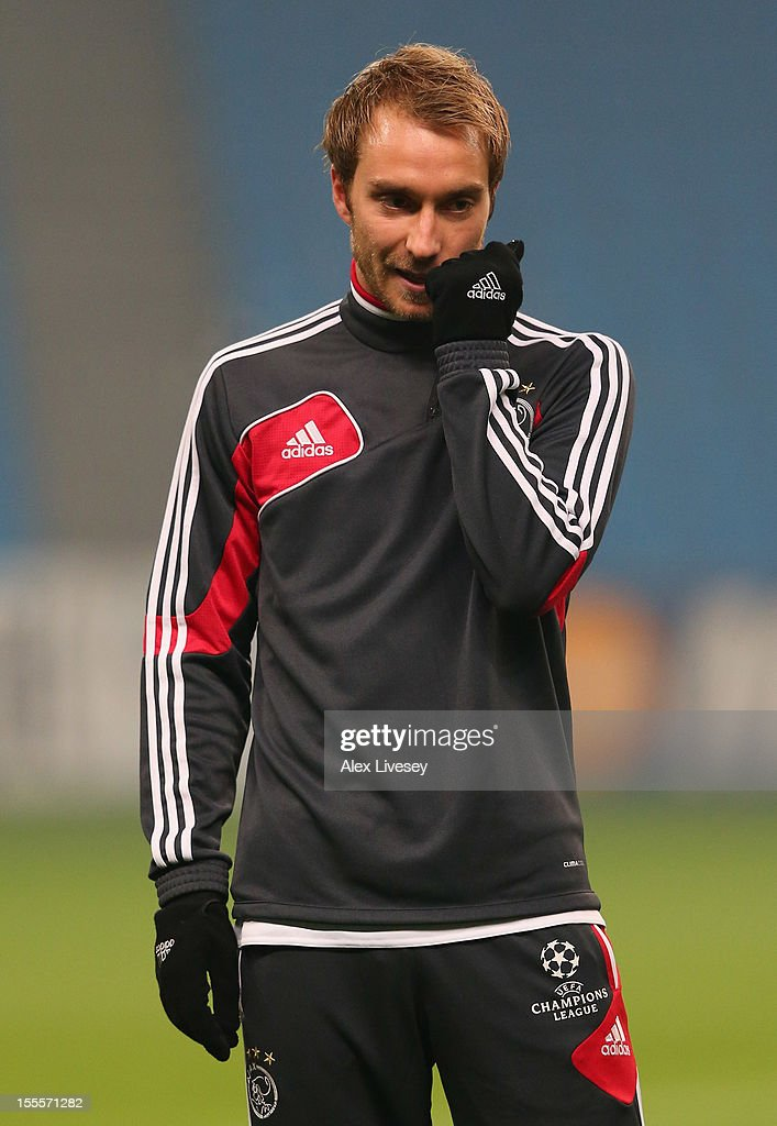 Christian Eriksen of Ajax Amsterdam looks on during a training session at Etihad Stadium on November 5, 2012 in Manchester, England.