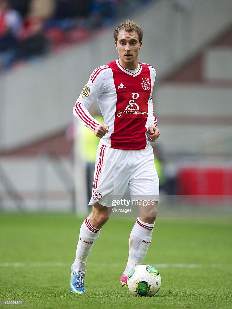 Christian Eriksen of Ajax during the Dutch Eredivisie match between Ajax Amsterdam and Heracles Almelo at the Amsterdam Arena on April 7, 2013 in Amsterdam, The Netherlands.