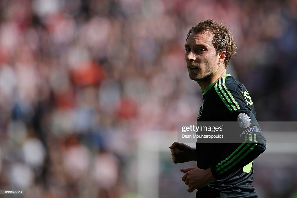 <a gi-track='captionPersonalityLinkClicked' href=/galleries/search?phrase=Christian+Eriksen&family=editorial&specificpeople=6757192 ng-click='$event.stopPropagation()'>Christian Eriksen</a> of Ajax looks on during the Eredivisie match between PSV Eindhoven and Ajax Amsterdam at Philips Stadion on April 14, 2013 in Eindhoven, Netherlands.