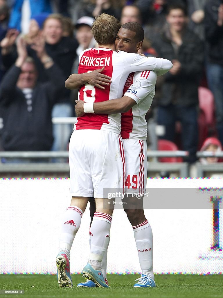 Christian Eriksen of Ajax, Ryan Babel of Ajax during the Dutch Eredivisie match between Ajax Amsterdam and Heracles Almelo at the Amsterdam Arena on April 7, 2013 in Amsterdam, The Netherlands.